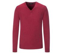 Klassischer Pullover, V-Neck in Beere für Herren