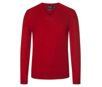 V-Neck Pullover aus 100% Merinowolle, Slim Fit in Rot