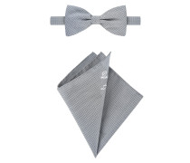 Modisches Accessoires-Set, mit Fliege und Einstecktuch in Grau für Herren