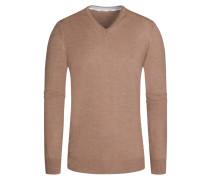 Pullover, V-Ausschnitt mit Patch in Beige für Herren
