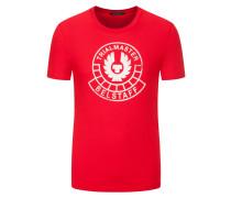 T-Shirt, mit Frontprint, O-Neck in Rot für Herren