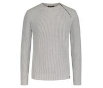 Schurwoll-Pullover mit Reißverschluss-Detail in Grau
