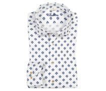 Freizeithemd mit modischem Blumenprint, Fitted Body in Weiss für Herren