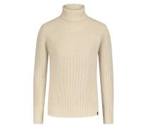 Gerippter Rollkragen-Pullover, 100% Schurwolle in Kitt