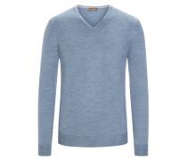 Pullover mit Ärmelpatches, 100% Merinwolle in Hellblau für Herren