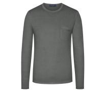Leichter Pullover mit Brusttasche, 100% Merinowolle in Anthrazit