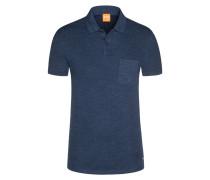 Poloshirt mit Struktur in Blau für Herren