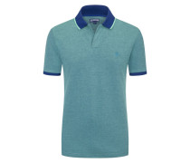 Piqué-Poloshirt, mit Kontrastbündchen in Blau