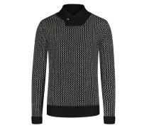 Pullover mit Kaschmir-Anteil und Schalkragen in Schwarz