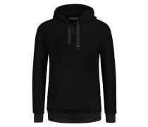 Sweatshirt mit Kapuze in Strickoptik in Schwarz