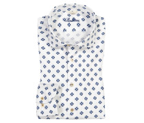 Freizeithemd mit Blumenprint, Slimline in Blau für Herren