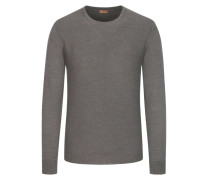Pullover, O-Neck, in feiner Merinowolle in Braun