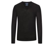V-Neck Pullover aus 100% Merinowolle, Slim Fit in Schwarz