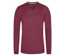 Pullover, V-Ausschnitt mit Patch in Rot für Herren