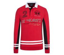 Sweatshirt mit Polokragen in Rot