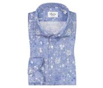 Leinenhemd mit Blumenprint, Fitted Body in Blau für Herren