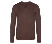 Pullover in Merino-Qualität, mit Ellenbogenpatches in Dunkelbraun