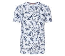 T-Shirt, O-Neck, mit Hawaii-Print in Weiss