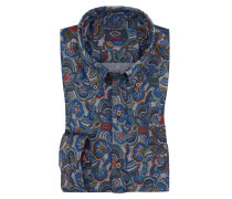 Oberhemd, in Paisley-Muster in Blau