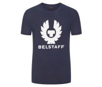 T-Shirt, O-Neck, mit Frontprint in Marine für Herren