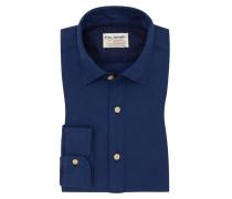 Freizeithemd mit modischem Kragen, Shaped Fit in Blau