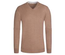 Pullover, V-Ausschnitt mit Patches in Beige für Herren