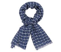 Schal mit modischem Muster aus reiner Wolle in Blau