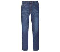 Modische Jeans im Used-Look, mit Lyocell-Anteil in Marine