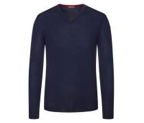Pullover mit Ärmelpatches, 100% Merinwolle in Marine für Herren
