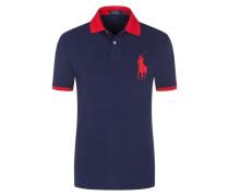 Poloshirt mit großer Logo-Applikation, Custom Slim Fit in Marine