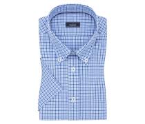 Kurzarmhemd mit Button-Down-Kragen, Tailor Fit in M-blau für Herren