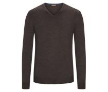 Pullover mit Ärmelpatches, 100% Merinwolle in Braun