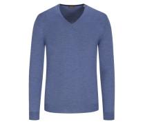 Pullover in Merino-Qualität, mit Ellenbogenpatches in Blau
