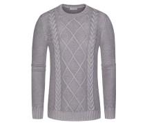 Pullover mit Zopfmuster, Merino Vintage in Grau