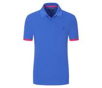 Piqué-Poloshirt, mit Kontrastbündchen in Royal