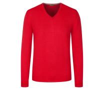 Pullover mit Ärmelpatches, 100% Merinwolle in Rot für Herren