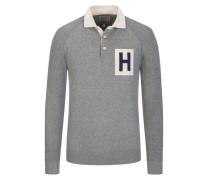 Sweatshirt mit Polokragen in Hellgrau für Herren