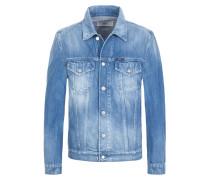Modische Jeansjacke im Used-Look in Hellblau für Herren