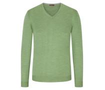 V-Ausschnitt Pullover mit Patches in Gruen