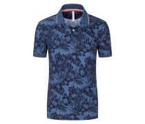 Poloshirt mit Hawaii-Print in Blau
