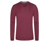Pullover, V-Ausschnitt mit Patches in Rot für Herren