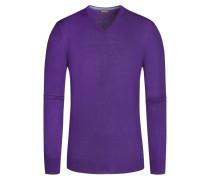 Pullover, V-Ausschnitt mit Patches in Lila für Herren