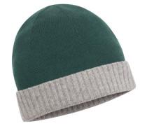 Mütze, 100% Kaschmir in Gruen für Herren