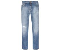 Slim Fit Jeans im Destroyed-Look in Hellblau für Herren