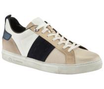 Leder-Sneaker im Used-Look in Weiss