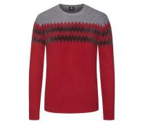 Pullover, O-Neck, in reiner Merinowolle in Rot für Herren