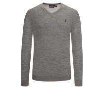 V-Neck Pullover aus 100% Merinowolle, Slim Fit in Grau