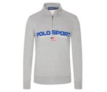 Sweatshirt mit Troyer-Kragen in Grau