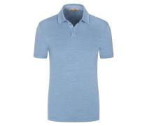 Poloshirt aus Leinen mit Stretchanteil in Blau