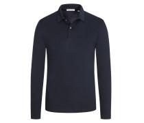 Poloshirt aus reiner Pima-Baumwolle, langarm in Marine